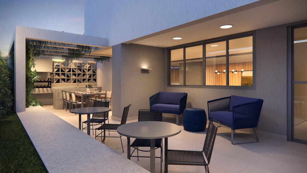 Perspectiva artística da churrasqueira e lounge externo