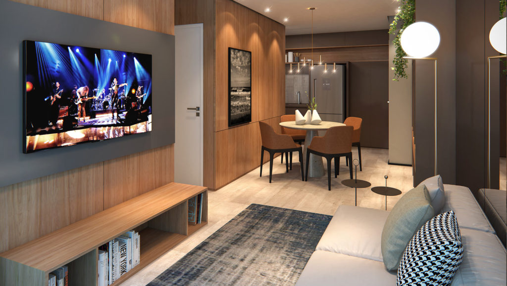 Perspectiva artística Living | 2 Dorms. - 66,34m²